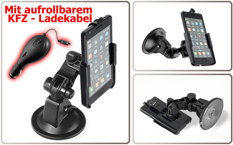 kfz halterung f r samsung galaxy s2 i9100 ladekabel ebay. Black Bedroom Furniture Sets. Home Design Ideas