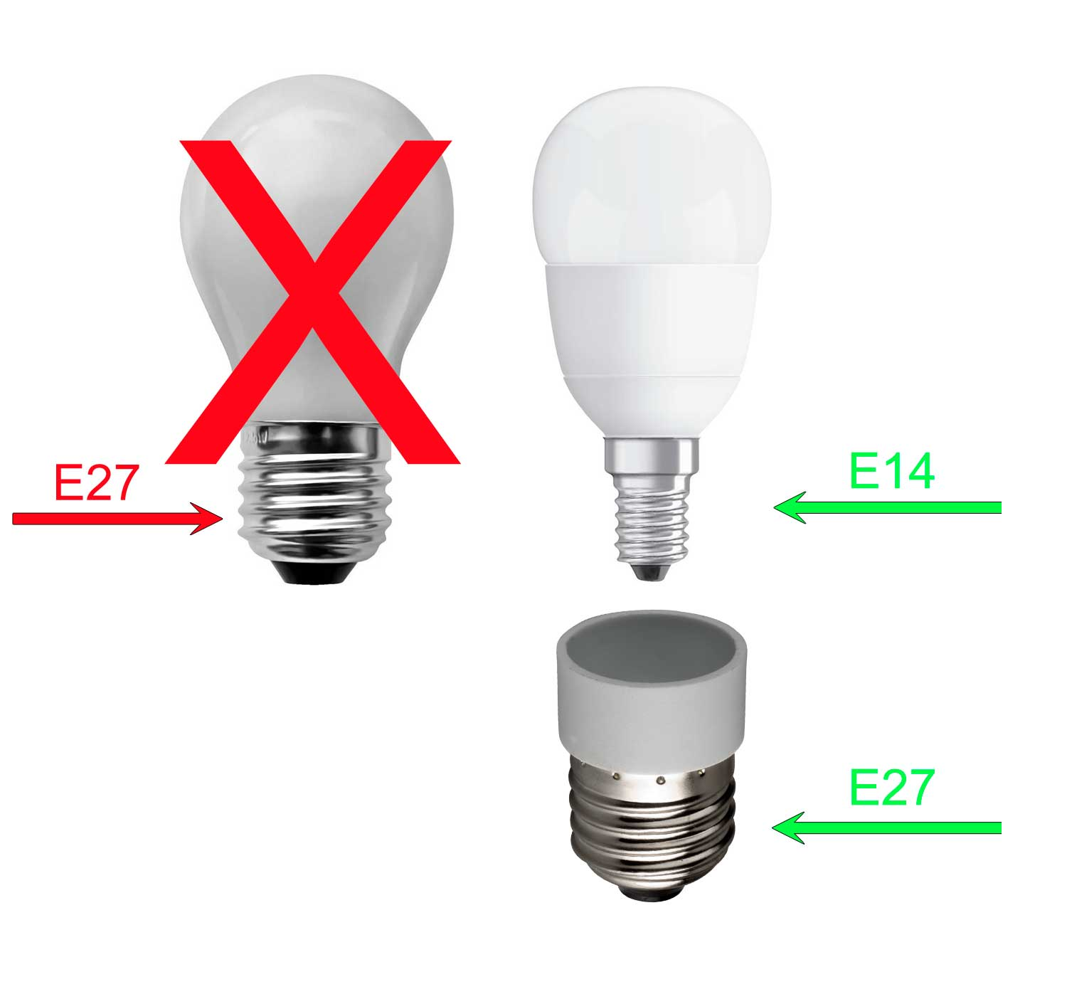 5er set lampen sockel adapter konverter von e14 auf e27 halogen led gl hbirne ebay. Black Bedroom Furniture Sets. Home Design Ideas